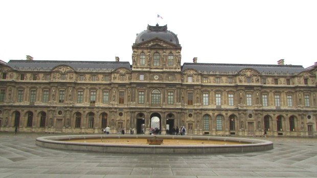 The courtyard of the Louvre Museum.